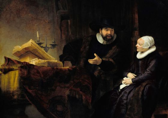 Rembrandt: The Mennonite Preacher Anslo and his Wife. Fine Art Print/Poster. Sizes: A4/A3/A2/A1 (004296)